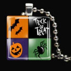 Jack o Lantern Spider Bats Pumpkin Glass